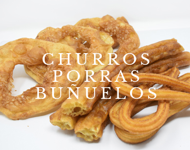 Churros porras y buñuelos con título en Churrería La Andaluza